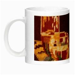 Bookworm Needlepoint Print Glow In The Dark Mug by StuffOrSomething