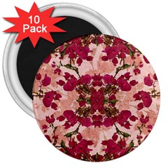 Retro Vintage Floral Motif 3  Button Magnet (10 Pack) by dflcprints
