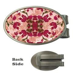 Retro Vintage Floral Motif Money Clip (oval) by dflcprints