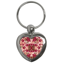 Retro Vintage Floral Motif Key Chain (heart) by dflcprints