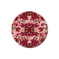 Retro Vintage Floral Motif Drink Coaster (round) by dflcprints