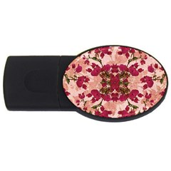 Retro Vintage Floral Motif 4gb Usb Flash Drive (oval) by dflcprints