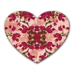 Retro Vintage Floral Motif Mouse Pad (heart) by dflcprints
