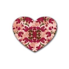 Retro Vintage Floral Motif Drink Coasters 4 Pack (heart)  by dflcprints