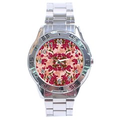 Retro Vintage Floral Motif Stainless Steel Watch by dflcprints