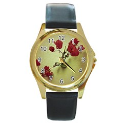 Santa Rita Flower In Warm Colors Wall Photo Round Gold Metal Watch by dflcprints