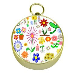 Summer Florals Gold Compass by StuffOrSomething