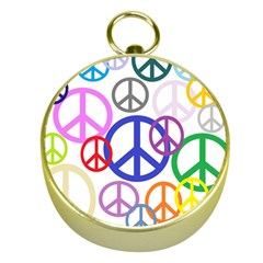 Peace Sign Collage  Gold Compass