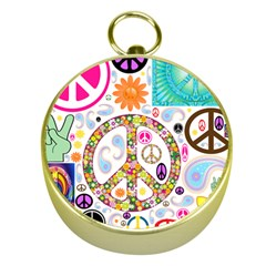 Peace Collage Gold Compass by StuffOrSomething
