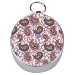 Paisley In Pink Silver Compass by StuffOrSomething