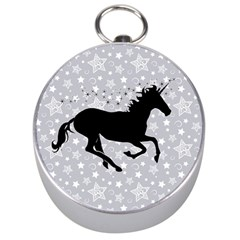 Unicorn On Starry Background Silver Compass by StuffOrSomething