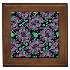 Floral Arabesque Pattern Framed Ceramic Tile by dflcprints