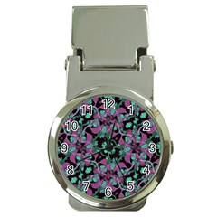 Floral Arabesque Pattern Money Clip With Watch