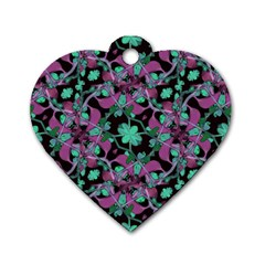 Floral Arabesque Pattern Dog Tag Heart (one Sided)  by dflcprints