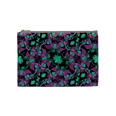 Floral Arabesque Pattern Cosmetic Bag (medium) by dflcprints