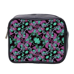 Floral Arabesque Pattern Mini Travel Toiletry Bag (two Sides) by dflcprints