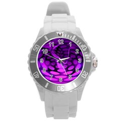 Abstract In Purple Plastic Sport Watch (large) by FunWithFibro