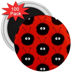 Red Cute Dazzled Bug Pattern 3  Button Magnet (100 Pack)