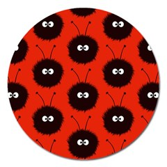 Red Cute Dazzled Bug Pattern Magnet 5  (round) by CreaturesStore