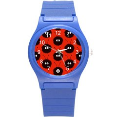 Red Cute Dazzled Bug Pattern Plastic Sport Watch (Small)
