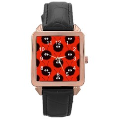 Red Cute Dazzled Bug Pattern Rose Gold Leather Watch  by CreaturesStore