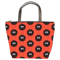 Red Cute Dazzled Bug Pattern Bucket Handbag by CreaturesStore