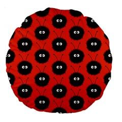 Red Cute Dazzled Bug Pattern 18  Premium Round Cushion  by CreaturesStore
