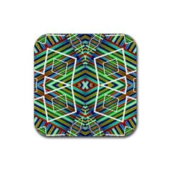 Colorful Geometric Abstract Pattern Drink Coaster (square) by dflcprints