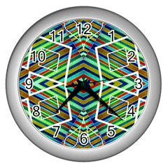 Colorful Geometric Abstract Pattern Wall Clock (silver) by dflcprints