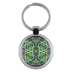 Colorful Geometric Abstract Pattern Key Chain (round) by dflcprints