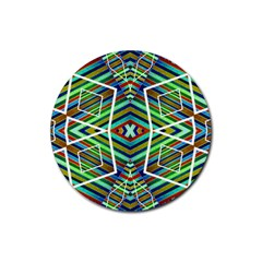 Colorful Geometric Abstract Pattern Drink Coaster (round) by dflcprints
