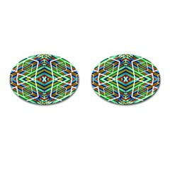 Colorful Geometric Abstract Pattern Cufflinks (oval) by dflcprints