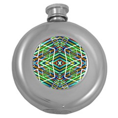 Colorful Geometric Abstract Pattern Hip Flask (round) by dflcprints