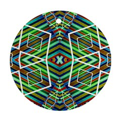 Colorful Geometric Abstract Pattern Round Ornament (two Sides) by dflcprints