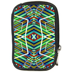 Colorful Geometric Abstract Pattern Compact Camera Leather Case by dflcprints