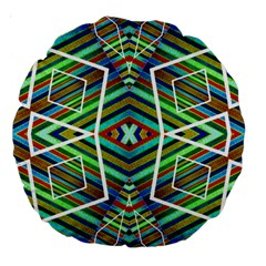 Colorful Geometric Abstract Pattern 18  Premium Round Cushion  by dflcprints