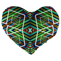 Colorful Geometric Abstract Pattern 19  Premium Heart Shape Cushion