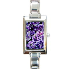 Purple Wildflowers Of Hope Rectangular Italian Charm Watch by FunWithFibro