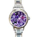 Purple Wildflowers Of Hope Round Italian Charm Watch