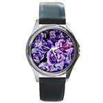 Purple Wildflowers Of Hope Round Leather Watch (Silver Rim)
