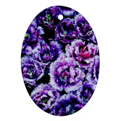 Purple Wildflowers Of Hope Oval Ornament by FunWithFibro