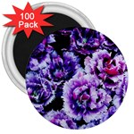 Purple Wildflowers Of Hope 3  Button Magnet (100 pack)