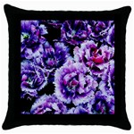 Purple Wildflowers Of Hope Black Throw Pillow Case