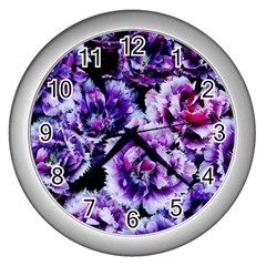 Purple Wildflowers Of Hope Wall Clock (silver) by FunWithFibro