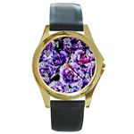 Purple Wildflowers Of Hope Round Leather Watch (Gold Rim)
