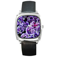 Purple Wildflowers Of Hope Square Leather Watch