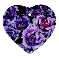Purple Wildflowers Of Hope Heart Ornament (Two Sides)