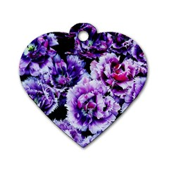 Purple Wildflowers Of Hope Dog Tag Heart (One Sided)