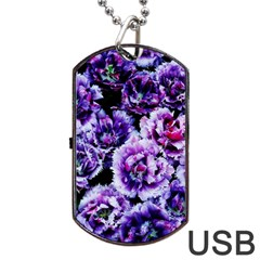 Purple Wildflowers of Hope Dog Tag USB Flash (Two Sides)