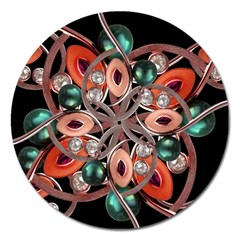 Luxury Ornate Artwork Magnet 5  (round) by dflcprints